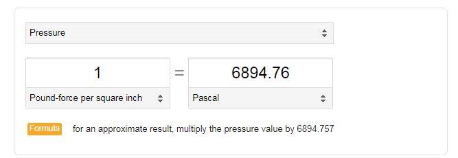 pressure psi pascal
